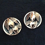 Renoir copper earrings with leaf motif
