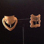 Copper drama mask earrings Tragedy And Comedy