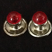 Bright red glass vintage cuff links or button studs
