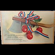 1908 Unused George Washington's Birthday Postcard with Hatchet and Cherries