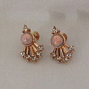 Rhinestone and opalescent stone earring