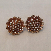 Lotus flower or Poppy earrings with rhinestone center