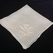 Lovely Applique and pulled thread hand stitched off white handkerchief