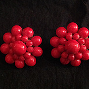 Red Bead Cluster Earrings. Japan