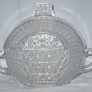 Early American Pattern Glass Handled Covered Dish