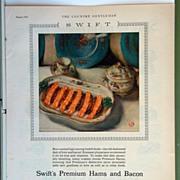 Swift's Premium Hams and Bacon Magazine Advertising 1928