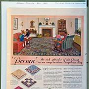1929 Congoleum Rug Advertising with California Limas on Reverse