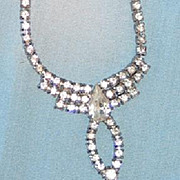 Rhinestone Necklace with Pear Shaped Rhinestone Drop
