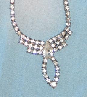 Rhinestone Necklace with Pear Shaped Rhinestone Drop