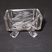 REDUCED Square Panes Footed Sauce Dish with Wheel Engraving  c 1880's