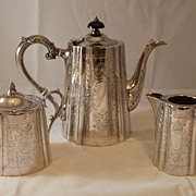 Early 20th Century Edwardian Barker & Ellis Silver 3-Piece Tea Set