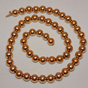 SALE Rare Art Deco 14K Gold Bead Necklace