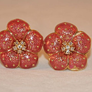 SALE Hidalgo 18K Gold and Rose Enamel Flower Earrings