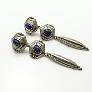 Long Vintage Sterling Silver Lapis Earrings