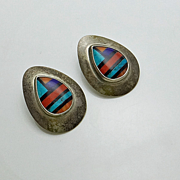 Sterling Silver Inlaid Turquoise Coral Stone Earrings Colorful