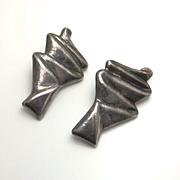 Huge Modernist Abtract Sterling Silver Earrings Clip On