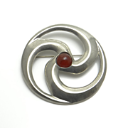 Large Celtic St Justin Pewter Carnelian Pin Brooch