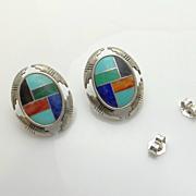 Carolyn Pollack Relios Southwestern Inlaid Turquoise Lapis Mosaic Earrings