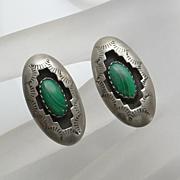 Sterling Silver Indian Shadow Box Malachite Earrings