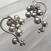 Sterling Silver Grape Vine Earrings