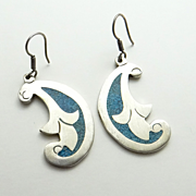 Taxco  Big Mexican Sterling Silver Turquoise Mosaic Inlay Earrings