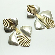 Huge Louis Booth Modernist Brass Earrings Mixed Metal