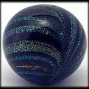 Dichroic art Glass Paperweight Rainbows in Cobalt Blue Miniature Glass Orb