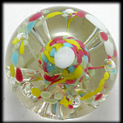 Tiara Exclusives Art Glass Paperweight Pink Yellow Blue Bubbles Vintage Signed