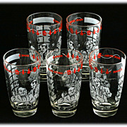Gay 90s Barware Drinks Tumblers How Dry I Am Vintage Glass