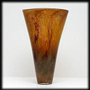 Intuit Studio Art Glass Stoneware Vase Signed Hand Blown Crackle Glass