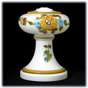 Milk Glass Lamp Font Base Hand Painted Flowers Yellow Brown Blue Vintage