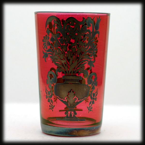 Vintage Cranberry Glass Tumbler Silver Overlay Urn and Flower Decoration