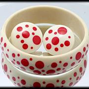 Avon Polka Dot Demi Parure Pink Polka Dot Chunky Bracelet and Clip Earrings