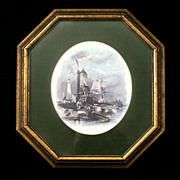 Rudolf Lesch Harbor Lighthouse Ships Fine Art Print English Vignette Vintage