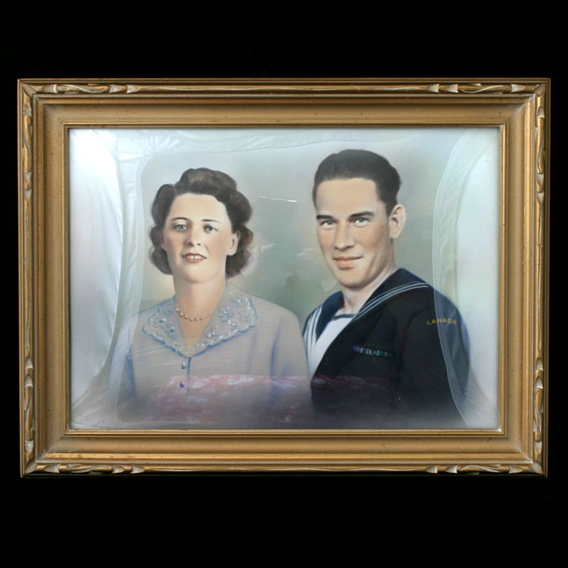 Canadian Military Portrait of a Couple in a Gold Bubble Frame 1940s Original Painting.