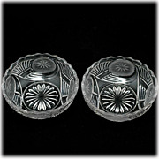 EAPG Frosted Circle Horn of Plenty Bowls Set of 2 Bryce Bros 1876