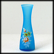 SALE Westmoreland Glass Blue Mist Vase Flowers Roses Daisies Vintage