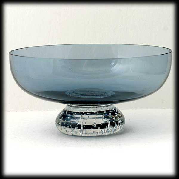 Scandinavian Blue Art glass Bowl Crystal Controlled Bubble Base