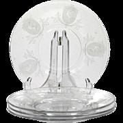 Tiffin Psyche Elegant Etched Glass Plates Vintage 1920s Scarf Dancer