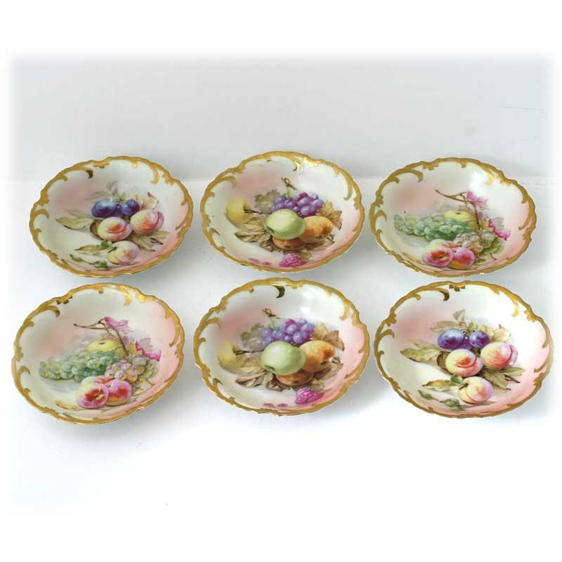 Royal Munich Bavarian Porcelain Bowls Hand Painted Fruits Gold Trim Antique Set 6