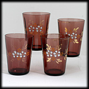 SALE Antique Victorian Amethyst Art Glass Tumblers Enameled Flowers Set 4