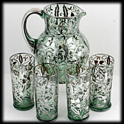 SALE Silver Overlay Pitcher Tumbler Set Green Bohemian Glass