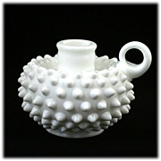 Fenton Milk Glass Hobnail Candle Holder 3870 MI Vintage 1960s
