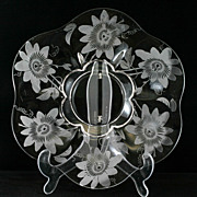 Duncan and Miller Passion Flower Platter Etched Elegant Glass Vintage