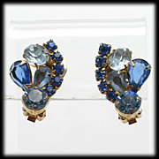 Opulent Blue Rhinestone Clip Earrings