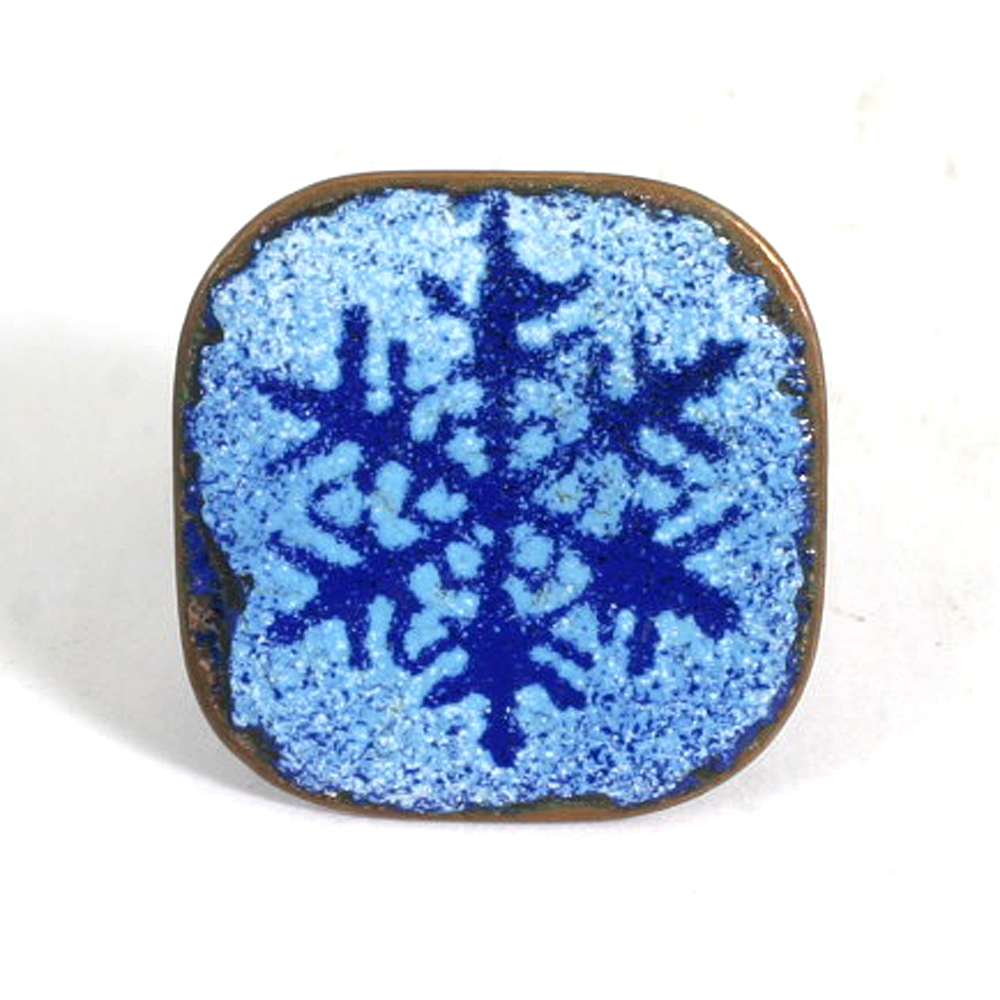 Enamel on Copper Blue Snowflake Ring Vintage Mid Century