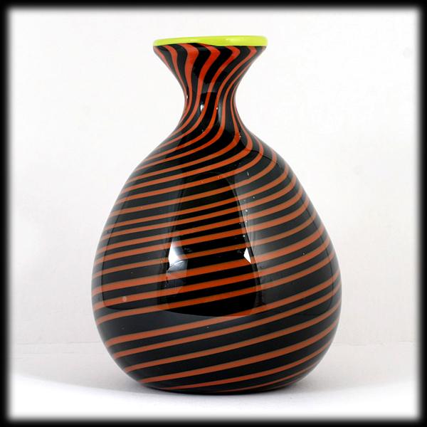 Hand Blown Art Glass Vase Black Orange Spirals Studio Artist