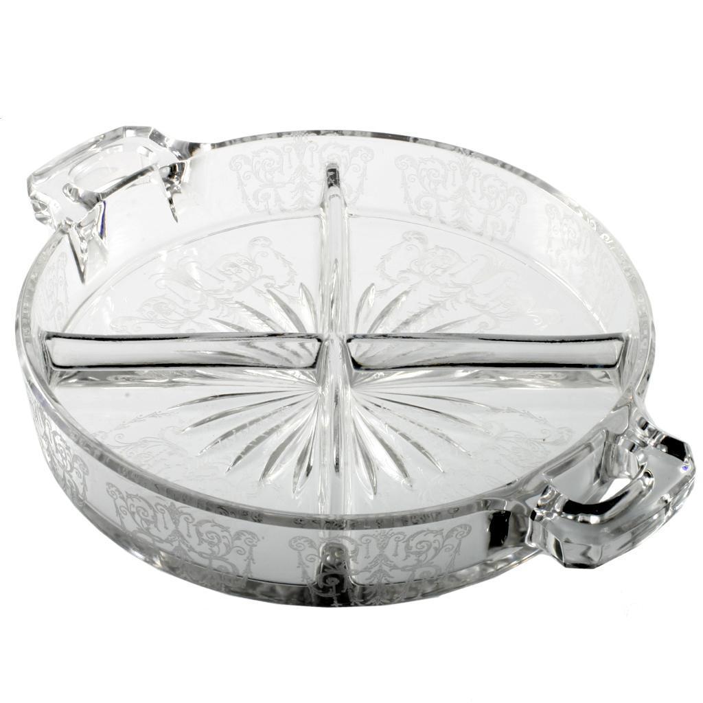 Cambridge Cleo Four Part Relish Elegant Glass Vintage Etched Dish Crystal
