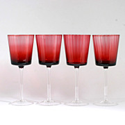 Ruby Red Crystal Wine Glasses Set of 4 Vintage Panel Optic Goblets Cranberry