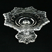 Antique Bohemian Cut Crystal Compote Engraved Art Glass Circa 1840s Czech